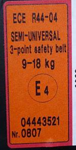 ECE R44-04 Prüfsiegel